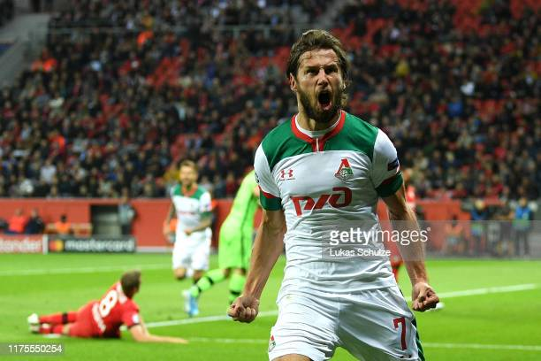 Grzegorz Krychowiak of Lokomotiv Moscow celebrates after scoring his team's first goal during the UEFA Champions League group D match between Bayer...
