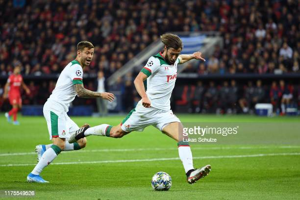 Grzegorz Krychowiak of Lokomotiv Moscow scores his team's first goal during the UEFA Champions League group D match between Bayer Leverkusen and...