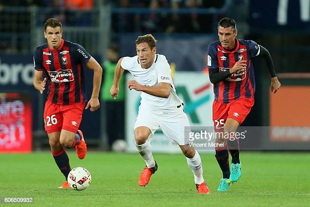 Grzegorz Krychowiak of Paris Saint Germain during the Ligue 1 match between SM Caen and Paris Saint Germain at Stade Michel D'Ornano on September 16...