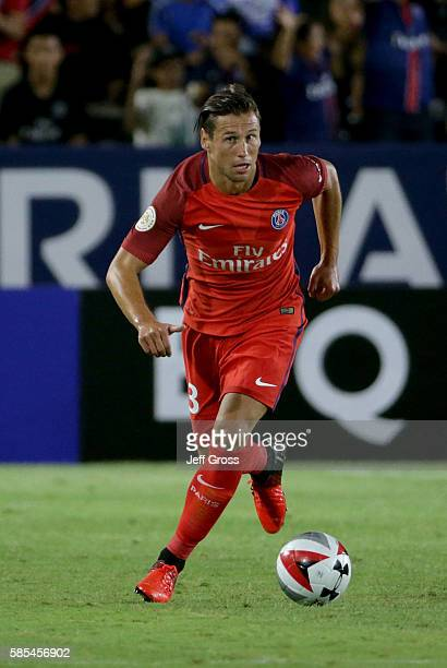 Grzegorz Krychowiak of Paris SaintGermain in action against Leicester City during the 2016 International Champions Cup at StubHub Center on July 30...