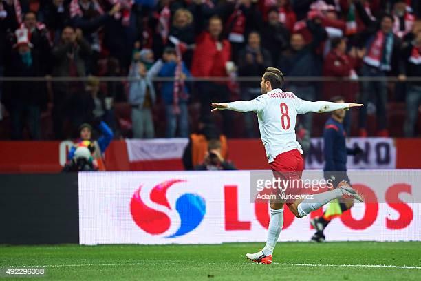 Grzegorz Krychowiak of Poland celebrates after scoring during the UEFA EURO 2016 qualifying match between Poland and Republic of Ireland at National...
