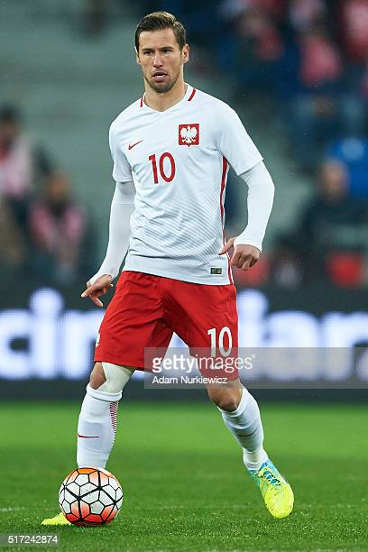 Grzegorz Krychowiak of Poland controls the ball during the international friendly soccer match between Poland and Serbia at the Inea Stadium on March...