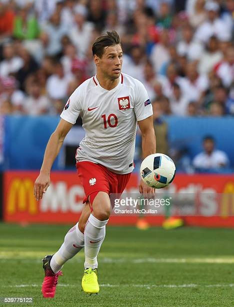 Grzegorz Krychowiak of Poland during the UEFA EURO 2016 Group C match between Poland v Northern Ireland at Allianz Riviera Stadium on June 12 2016 in...