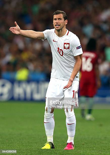 Grzegorz Krychowiak of Poland gestures during the UEFA Euro 2016 Quarter Final match between Poland and Portugal at Stade Velodrome on June 30 2016...