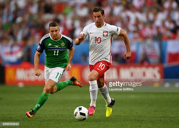 Grzegorz Krychowiak of Poland in action during the UEFA EURO 2016 Group C match between Poland and Northern Ireland at Allianz Riviera Stadium on...