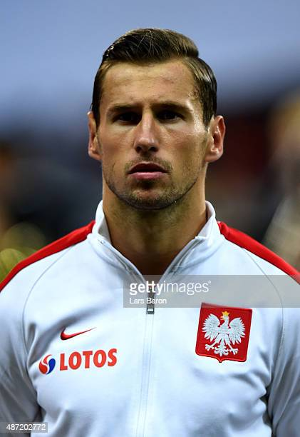 Grzegorz Krychowiak of Poland is seen prior to the EURO 2016 Qualifier Group D match between Germany and Poland on September 4 2015 in Frankfurt am...