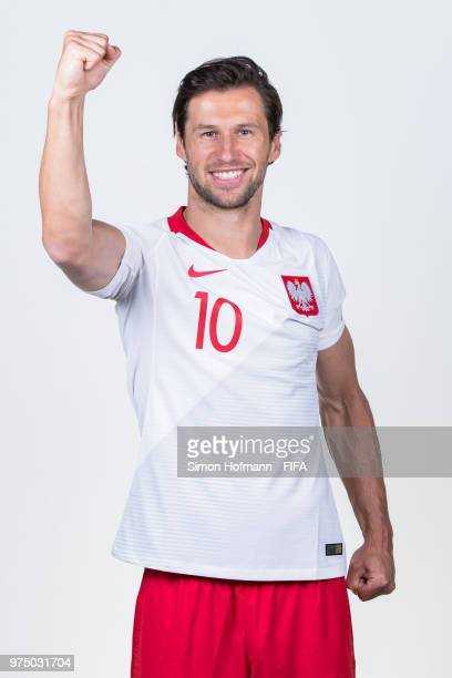 Grzegorz Krychowiak of Poland poses during the official FIFA World Cup 2018 portrait session at Hyatt Regency Hotel on June 14 2018 in Sochi Russia