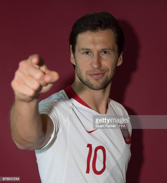 Grzegorz Krychowiak of Poland poses for a photograph during the official FIFA World Cup 2018 portrait session at on June 14 2018 in Sochi Russia