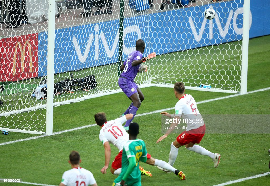 Grzegorz Krychowiak of Poland (10) scores a goal beating goalkeeper of Senegal Khadim N'Diaye during the 2018 FIFA World Cup Russia group H match between Poland and Senegal at Spartak Stadium on June 19, 2018 in Moscow, Russia.
