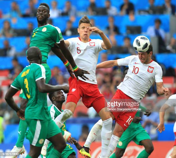 Grzegorz Krychowiak of Poland scores Poland's first goal to make it 21 during the 2018 FIFA World Cup Russia group H match between Poland and Senegal...