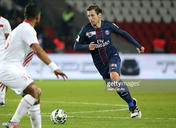Grzegorz Krychowiak of PSG in action during the French League Cup match between Paris SaintGermain and Lille OSC at Parc des Princes stadium on...