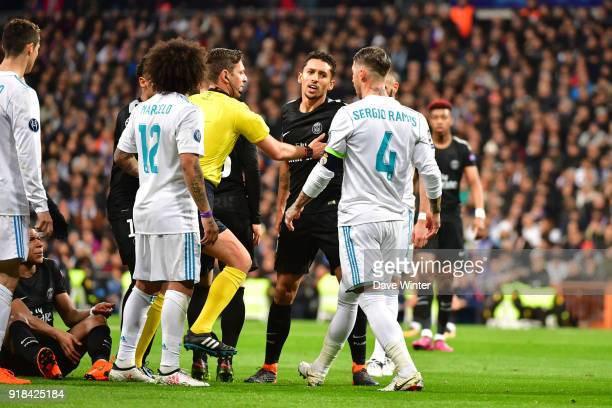 Grzegorz Krychowiak of PSG is unhappy with Sergio Ramos of Real Madrid during the Champions League match between Real Madrid and Paris Saint Germain...