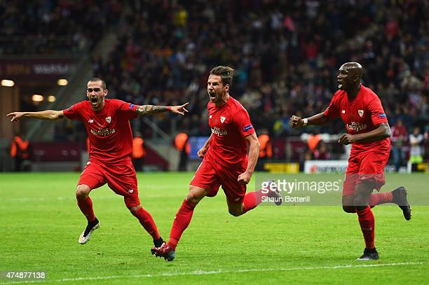 Grzegorz Krychowiak of Sevilla celebrates scoring his team's opening goal during the UEFA Europa League Final match between FC Dnipro Dnipropetrovsk...