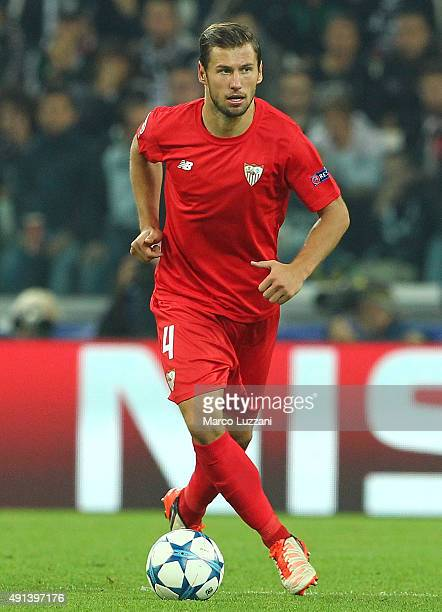 Grzegorz Krychowiak of Sevilla FC in action during the UEFA Champions League group E match between Juventus and Sevilla FC at Juventus Arena on...