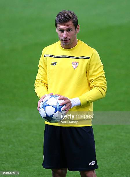 Grzegorz Krychowiak of Sevilla FC looks on during a training session at the Etihad Stadium on October 20 2015 in Manchester United Kingdom