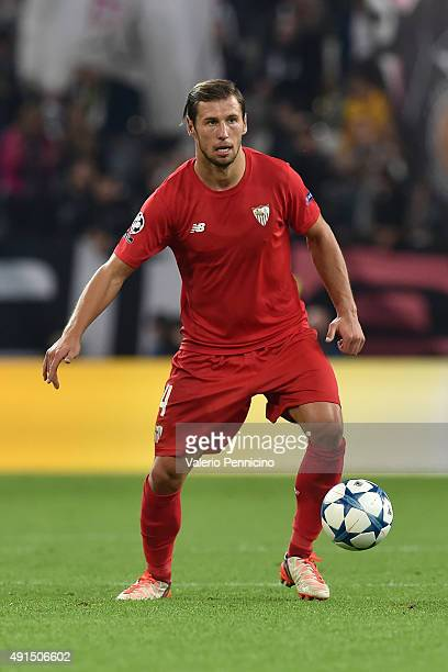 Grzegorz Krychowiak of Sevilla in action during the UEFA Champions League group E match between Juventus and Sevilla FC on September 30 2015 in Turin...