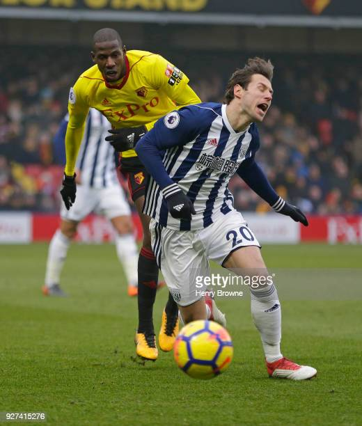 Grzegorz Krychowiak of West Bromwich Albion and Abdoulaye Doucoure of Watford during the Premier League match between Watford and West Bromwich...