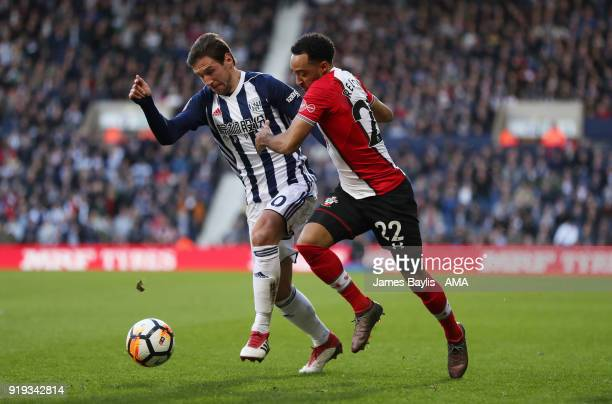 Grzegorz Krychowiak of West Bromwich Albion and Nathan Redmond of Southampton during The Emirates FA Cup Fifth Round match between West Bromwich...