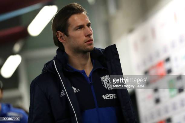 Grzegorz Krychowiak of West Bromwich Albion arrives at the stadium during the Premier League match between West Ham United and West Bromwich Albion...