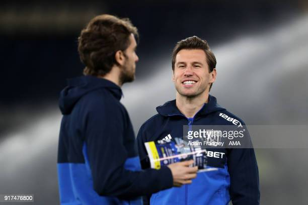 Grzegorz Krychowiak of West Bromwich Albion arrives at the stadium and inspects the pitch prior to the Premier League match between Chelsea and West...