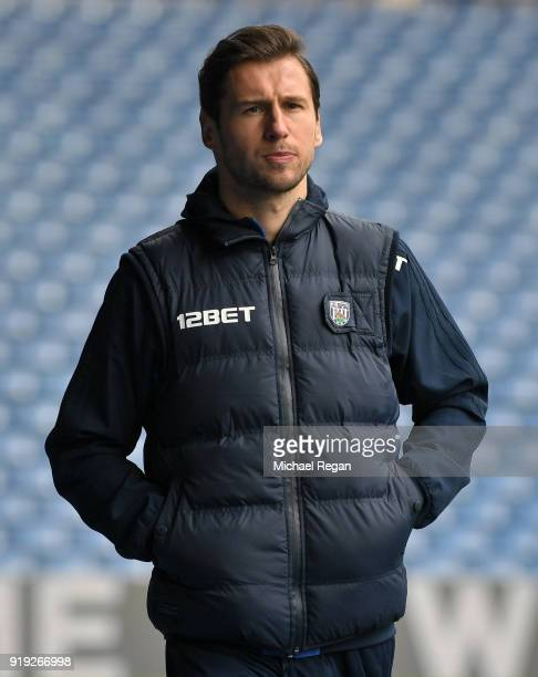 Grzegorz Krychowiak of West Bromwich Albion arrives at the stadium prior to the The Emirates FA Cup Fifth Round between West Bromwich Albion v...