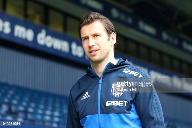 Grzegorz Krychowiak of West Bromwich Albion arrives at the stadium prior to the Premier League match between West Bromwich Albion and Swansea City at...