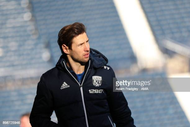 Grzegorz Krychowiak of West Bromwich Albion arrives prior to the Premier League match between West Bromwich Albion and Everton at The Hawthorns on...