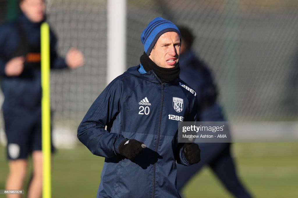 Grzegorz Krychowiak of West Bromwich Albion during a training session on November 30, 2017 in West Bromwich, England.
