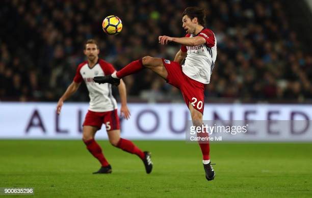 Grzegorz Krychowiak of West Bromwich Albion during the Premier League match between West Ham United and West Bromwich Albion at London Stadium on...