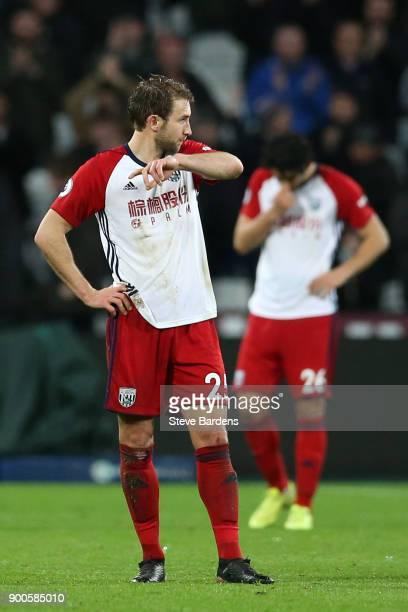 Grzegorz Krychowiak of West Bromwich Albion look dejected during the Premier League match between West Ham United and West Bromwich Albion at London...