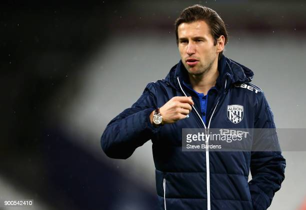 Grzegorz Krychowiak of West Bromwich Albion looks on prior to the Premier League match between West Ham United and West Bromwich Albion at London...