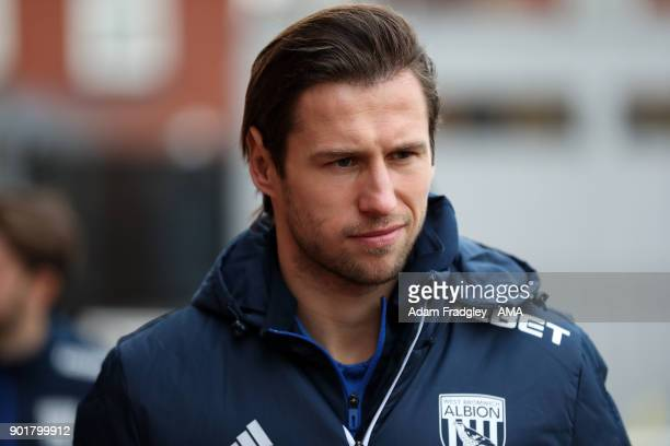 Grzegorz Krychowiak of West Bromwich Albion prior to the The Emirates FA Cup Third Round match between Exeter City v West Bromwich Albion at St James...