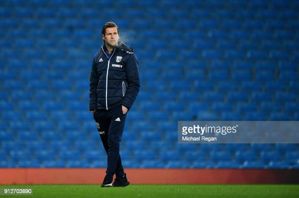 Grzegorz Krychowiak of West Bromwich Albion takes a look around the pitch prior to the Premier League match between Manchester City and West Bromwich...