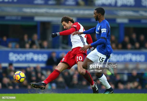 Grzegorz Krychowiak of West Bromwich Albion takes a shot on goal during the Premier League match between Everton and West Bromwich Albion at Goodison...