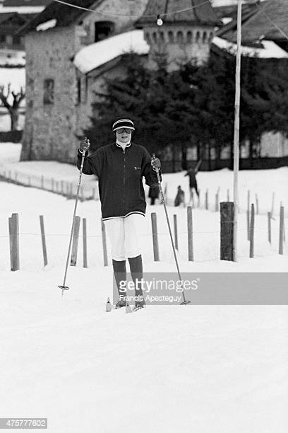 Gstaad Switzerland 25 February 1977 Princess Grace of Monaco cross country skiing at Gstaad