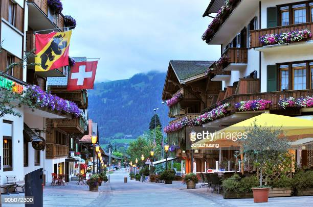 gstaad, switzerland - gstaad stock pictures, royalty-free photos & images