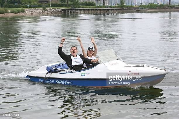 Götz Otto and his wife Sabine On Boat In The big border traffic in Prien Am Chiemsee 230606