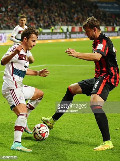 Götze of Bayern München in action against his opponent during the Bundesliga soccer match between Eintracht Frankfurt and Bayern München at the...