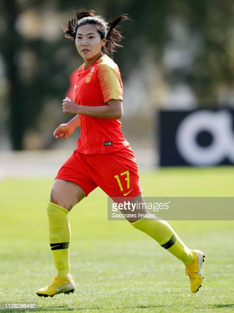 Gu Yasha of China Women during the Algarve Cup Women match between China PR v Norway at the Estadio Municipal de Albufeira on March 1, 2019 in...