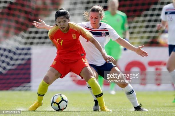 Gu Yasha of China Women, Emilie Haavi of Norway Women during the Algarve Cup Women match between China PR v Norway at the Estadio Municipal de...