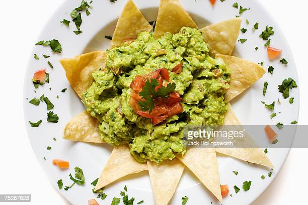 Guacamole and chips, close-up