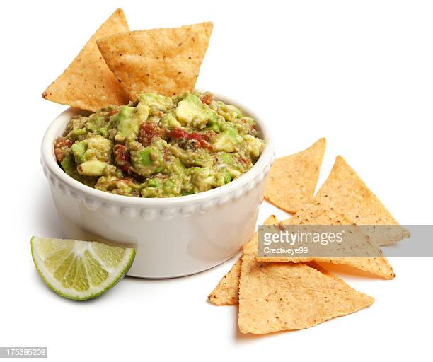guacamole and chips - guacamole stock photos and pictures