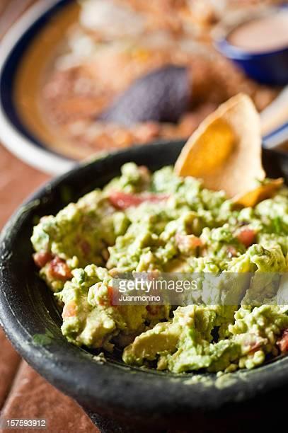 Guacamole en un restaurante mexicano
