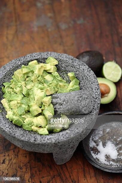 Guacamole in mortar with pestle