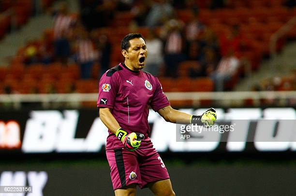 Guadalajara goalkeeper Rodolfo Cota celebrates a goal against Chiapas during their Mexican Apertura 2016 tournament football match at Chivas stadium...