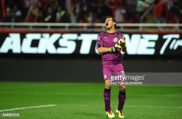 Guadalajara goalkeeper Rodolfo Cota celebrates a goal by his team against Toluca during their Mexican Clausura 2017 tournament football match at...
