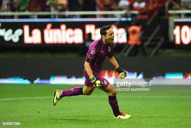 Guadalajara goalkeeper Rodolfo Cota celebrates a goal by his team against Toluca during their Mexican Clausura 2017 tournament football match at...