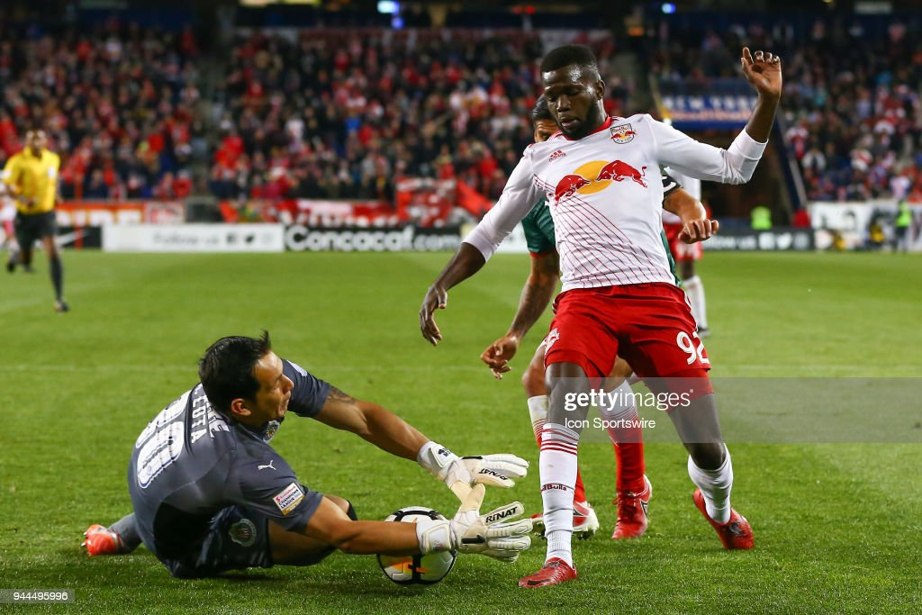 Guadalajara goalkeeper Rodolfo Cota (30) makes a save during the second half of the CONCACAF Champions League game between Chivas de Guadalajara at NY Red Bulls on April 10, 2018, at Red Bull Arena in Harrison, NJ.