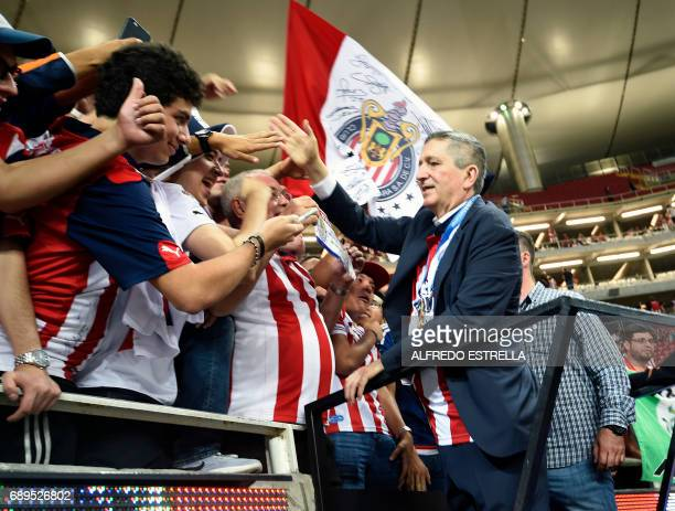 Guadalajara owner Jorge Vergara celebrates their victory against Tigres during the final match of the Mexican Clausura 2017 football tournament at...