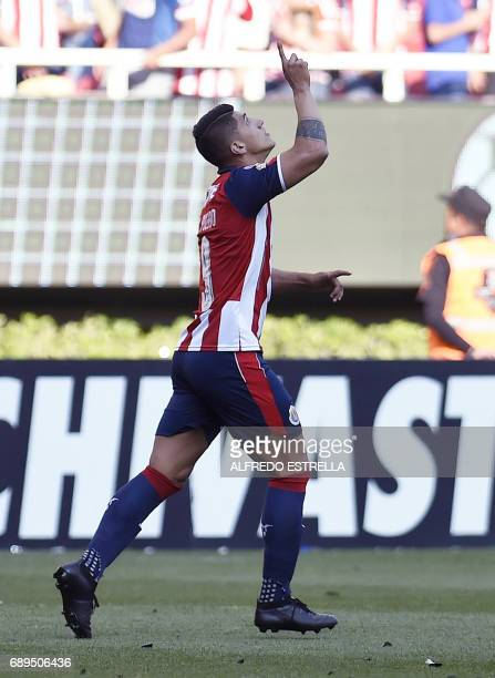 Guadalajara player Alan Pulido celebrates his goal against Tigres during the final of the Mexican Clausura 2017 football tournament at the Chivas...